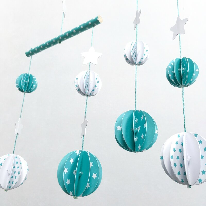 mobile boule origami vert turquoise 2