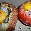 1113 Oeufs en cocotte de pain et tomate