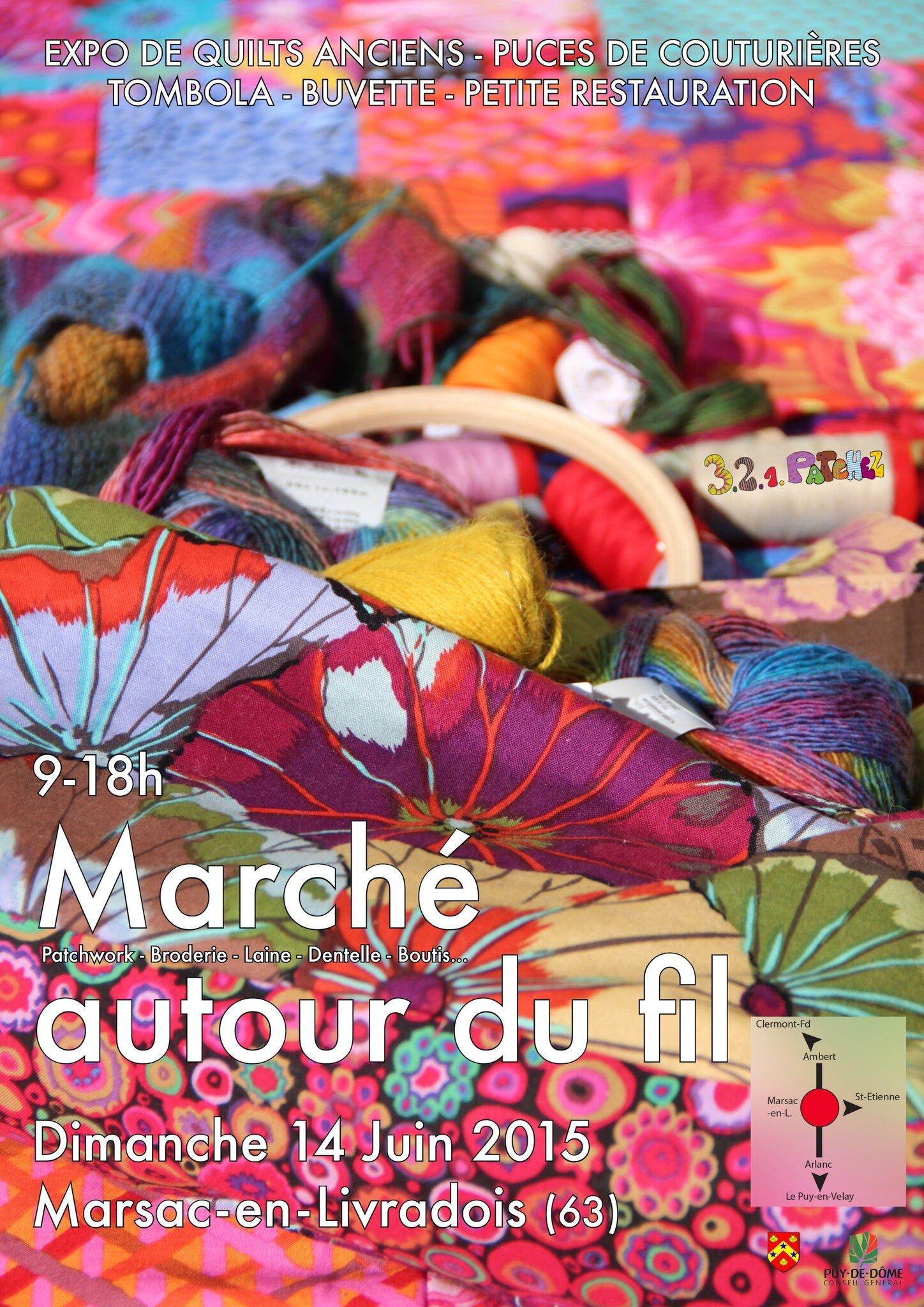 """Notre 7 ème """"Marché autour du fil"""" , """"Puces des couturières"""" et """"Exposition"""" qui a eu lieu dimanche 14 juin 2015"""