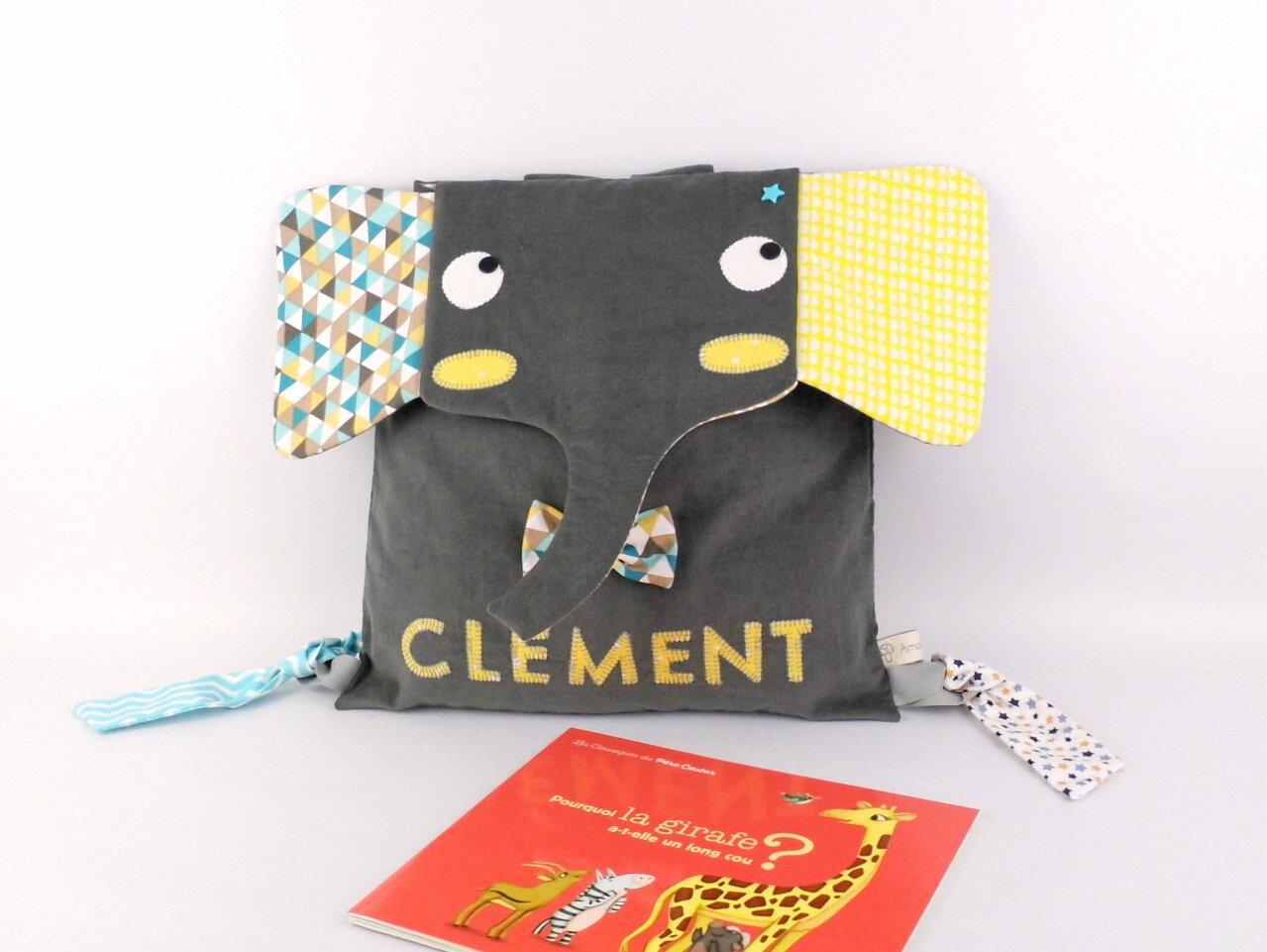 Sac maternelle garcon elephant personnalise prenom clement gris jaune bleu turquoise canard sac à dos personnalisable prenom couleurs cadeau garcon noel anniversaire 5 ans