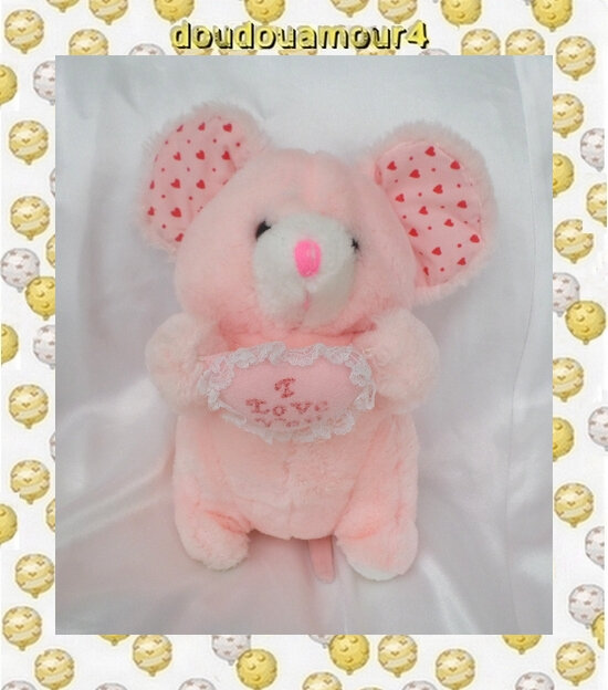 Doudou Peluche Souris Assis Rose Coeur I Love You CP
