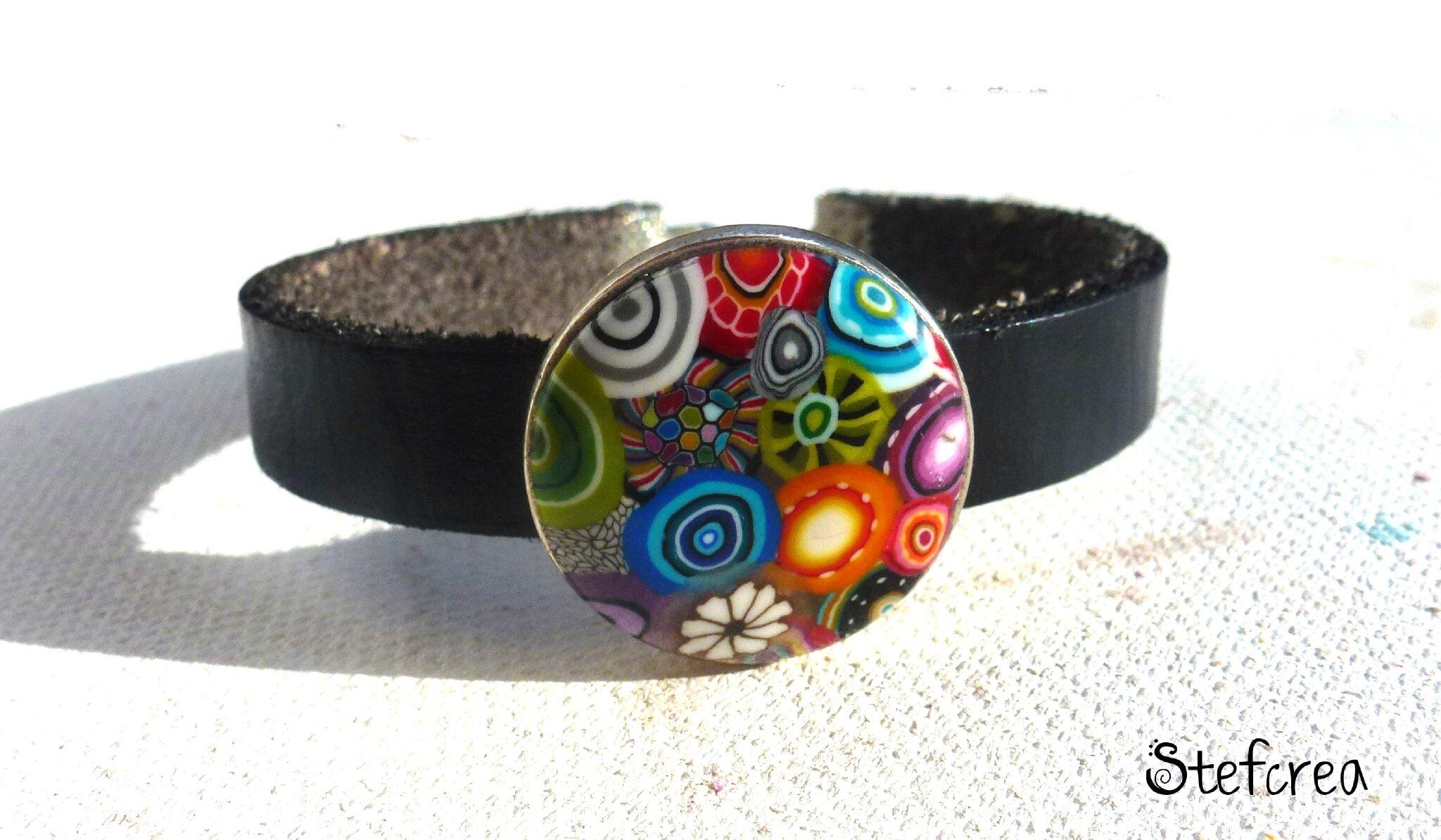 bracelet_cuir_noir_10mm_argent_multicolore