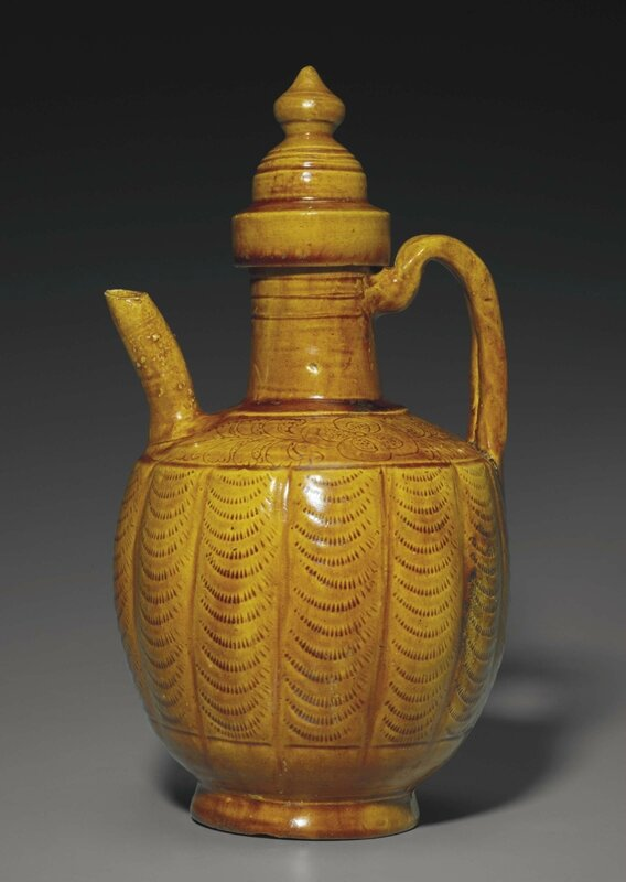 An amber-glazed ewer and cover, Liao dynasty, 10th-11th century