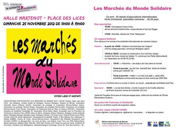 Flyer Marchés du Monde 2012