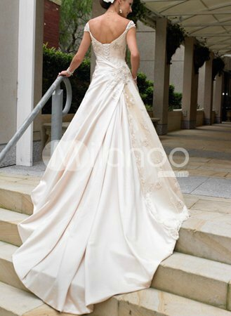 A-line-Applique-Beading-Satin-Pongee-Wedding-Dress-20858-2