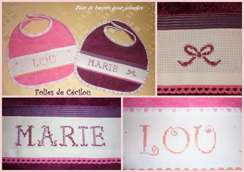 montage bavoirs Marie & Lou
