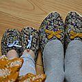 Duo de ballerines en liberty tatum prune pour mère et fille !