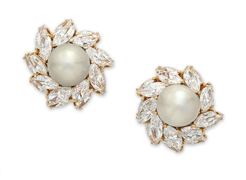 A pair of natural pearl and diamond ear clips, by Bvlgari