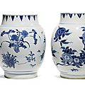 Two blue and white 'Seed pod' jars, circa 1640