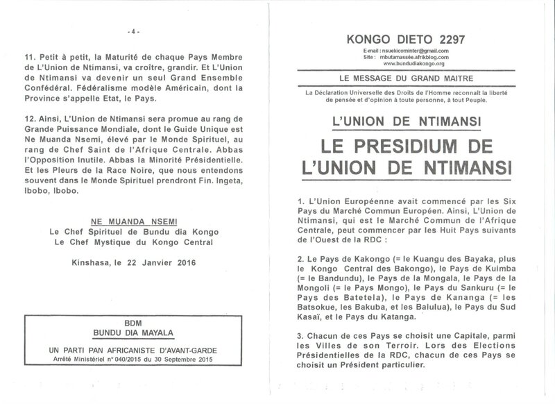 LE PRESIDIUM DE L'UNION DE NTIMANSI a