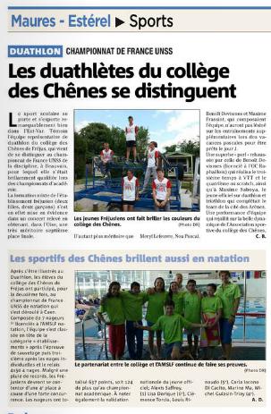 article CF natation et duathlon VAR MATIN du 11 06 2015