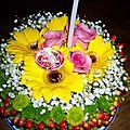 Gateau d'anniversaire fleurs