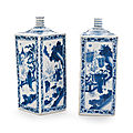 A pair of blue and white gin bottles, 17th century