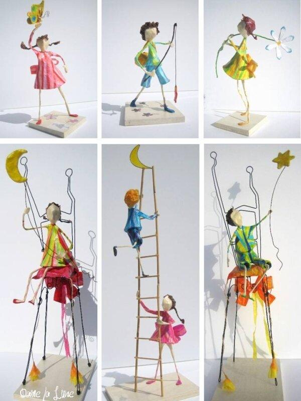Figurines aériennes - Création Dame la Lune