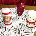 Bougies décorées pour noël