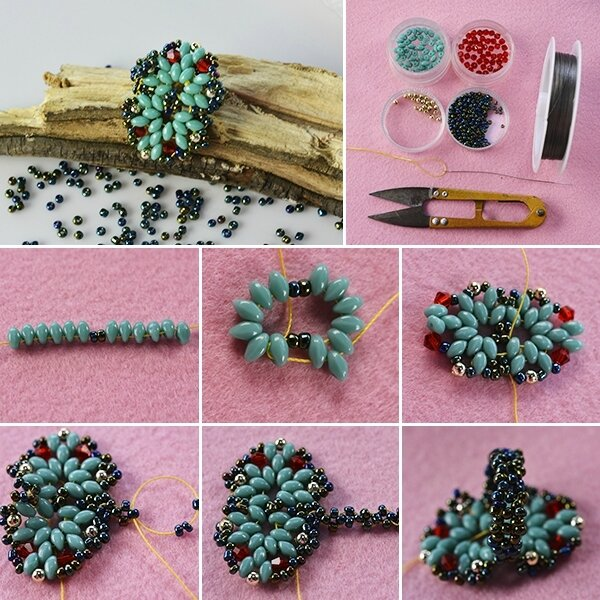 600-Pandahall-Tutorial-on-How-to-Make-a-Blue-2-Hole-Seed-Bead-Ring