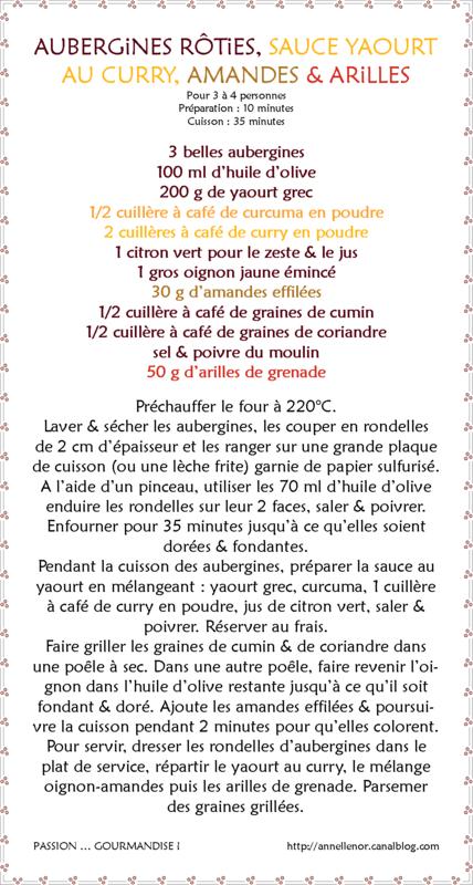 Aubergines rôties, sauce yaourt au curry, oignons frits, amandes & arilles_fiche