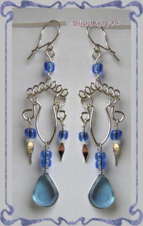Boucles D'Oreilles Laura Verre Murano Bleu Clair Métal Argenté Artisanat du Pérou