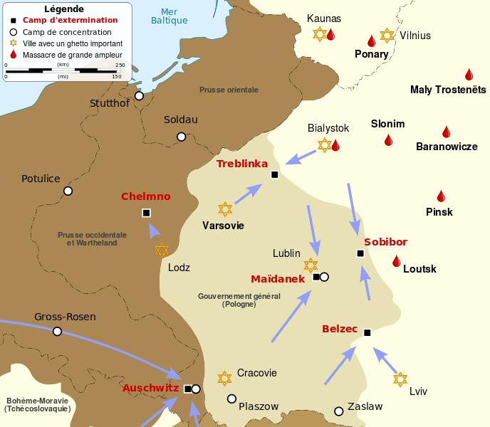 Carte localisation des camps d'extermination