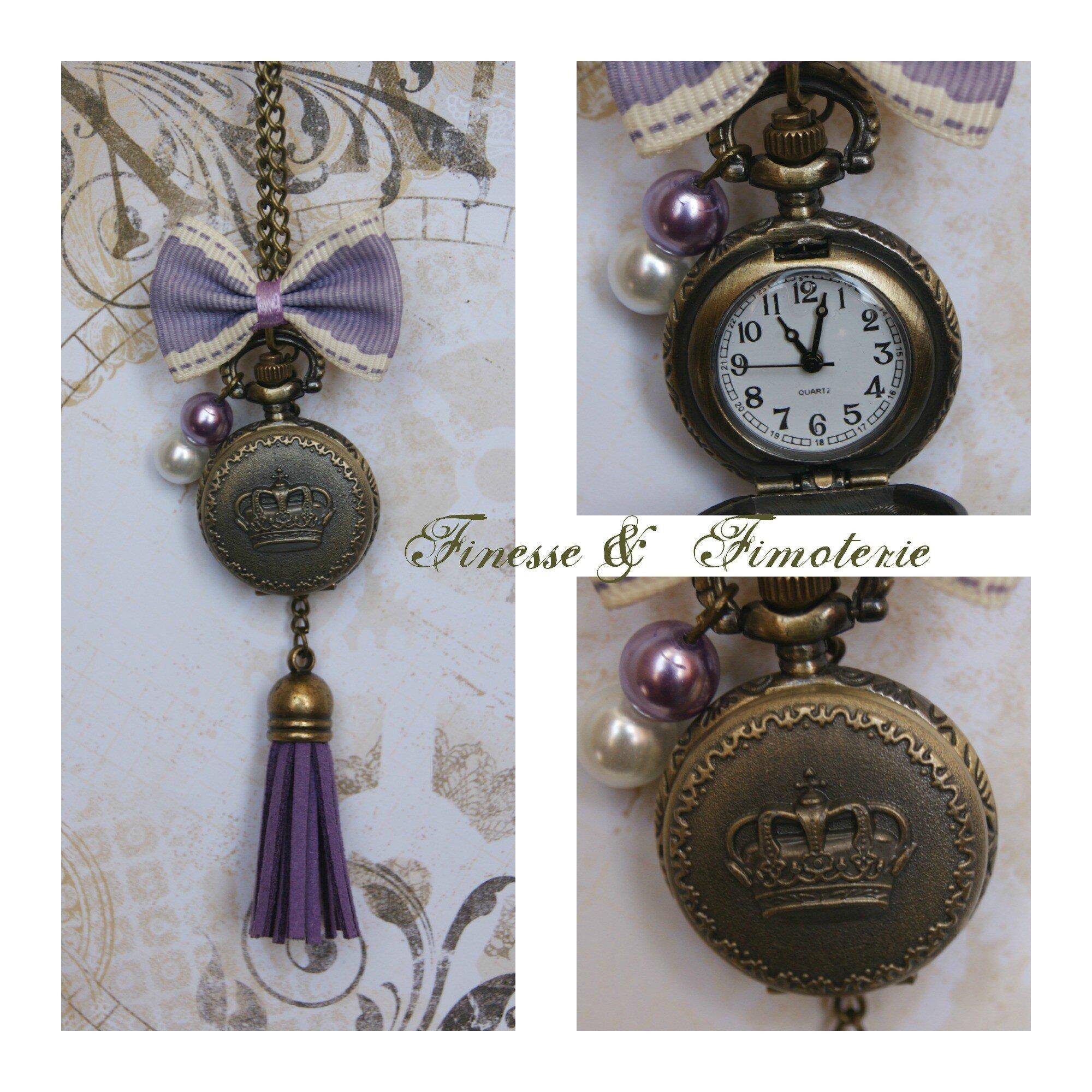 Petite horloge bronze parme thème couronne