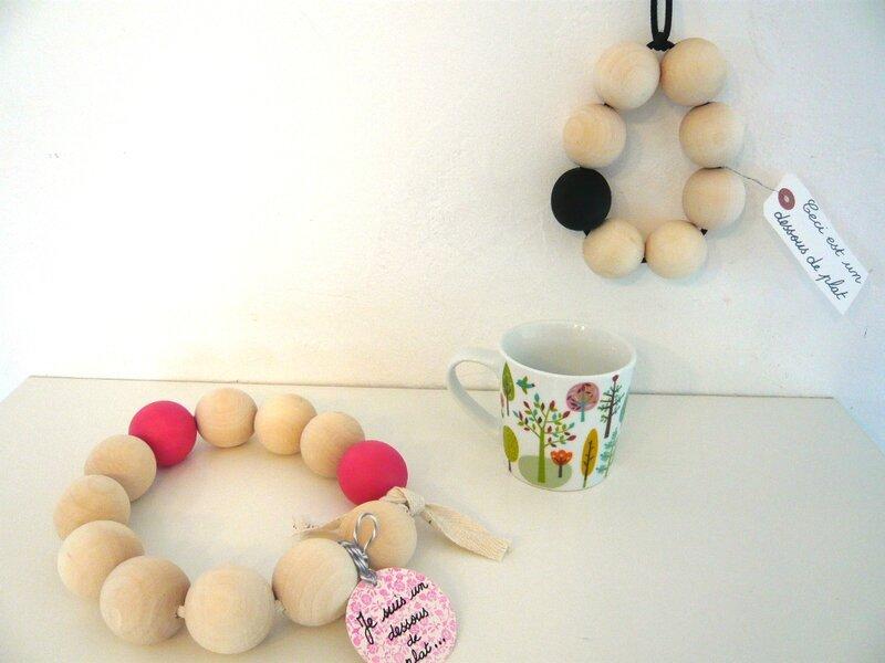dessous de plat grosses perles en bois DIY dessous de plat modulables fait maison (7)