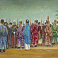 Tran d. trong (xxème siècle), les mandarins et les autorites françaises attendant l'arrivee de l'empereur thanh thai, 1903