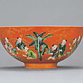 A fine coral-groundfamille verte'boys' bowl, jiaqing period (1796-1820)