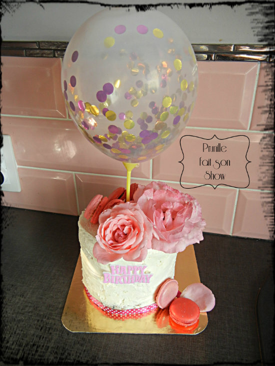 gateau prunille rose et ballon prunillefee 1