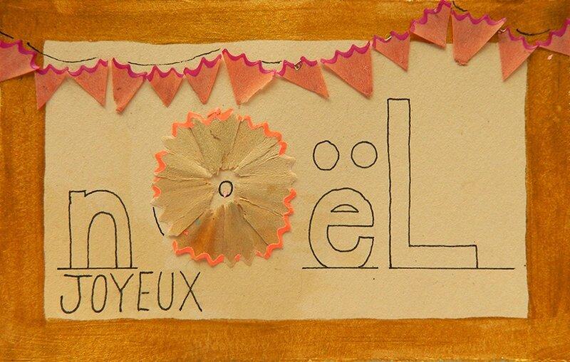 carte de voeux,carte noel,idee activite enfant,recyclage,copeaux de crayon,carte,noel,enfant,tuto,diy1 blog