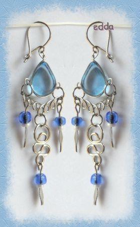 Boucles D'Oreilles Suzana Verre Murano Bleu Clair Métal Argenté Artisanat du Pérou