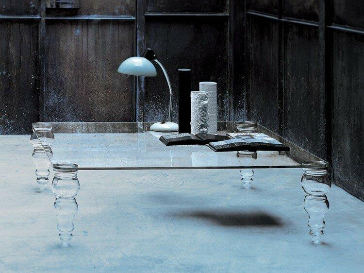 Post Modern - Table basse - Plateau en verre trempé de haute qualité   verre  transparent extralight (transparence absolue), épaisseur 15 mm - Pieds en  verre ... 41290ddae50c
