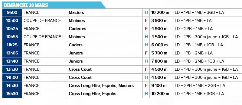 horaires france cross