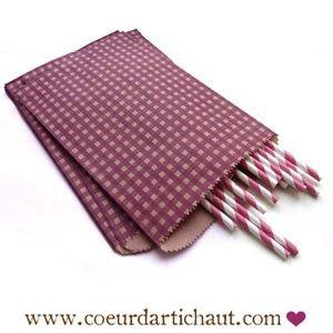 sachet-motif-vichy-kraft-prune-plat www.coeurdartichaut.com