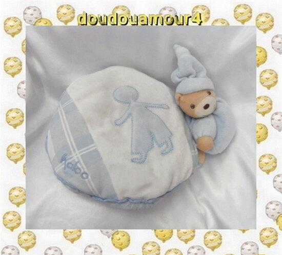 Doudou Peluche Coussin Rond Ours Bleu Blanc Enfant Kaloo