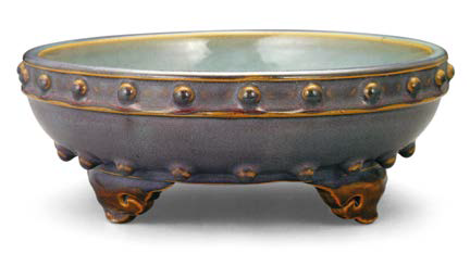 Purple-glazed 'Numbered one' Jun bulb bowl with drum-nail design, Song dynasty, 27 cm