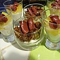 Verrine chèvre fruits canard