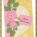 Carte SCRAPÉE 10x15cm Joyeux Anniversaire Fond jaune fleurs roses et wachi 24-10-2019 1