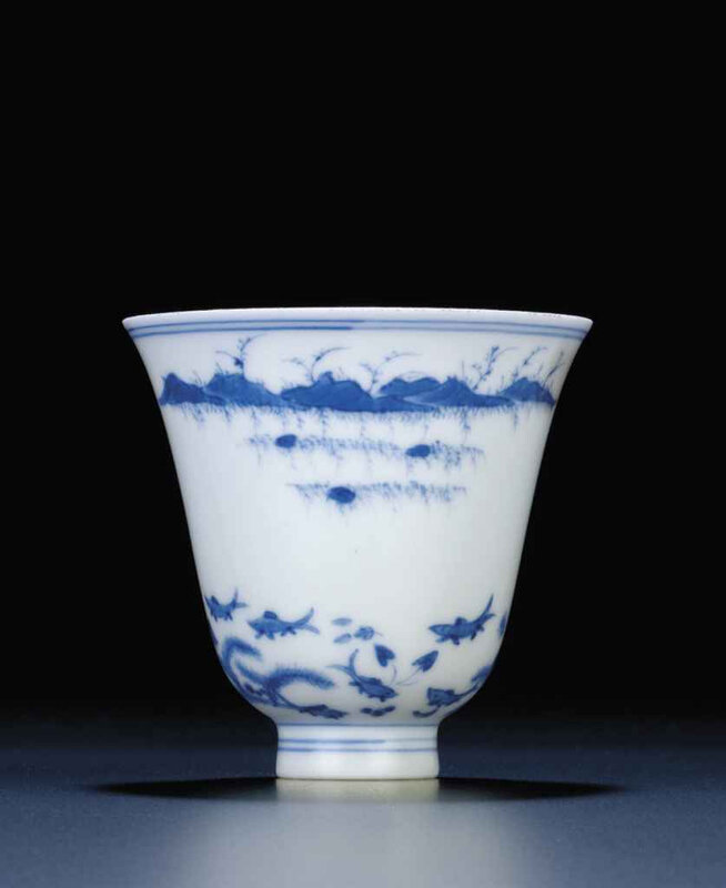 A rare blue and white winecup, Kangxi six-character mark within double-circles and of the period (1662-1722)