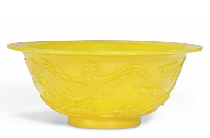 A Chinese yellow glass 'Landscape' bowl, late 19th-early 20th century