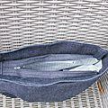 Sac besace plissé jean - ouverture
