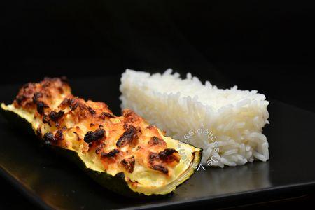 courgette farcie, ricotta, crevette, riz, parmesan