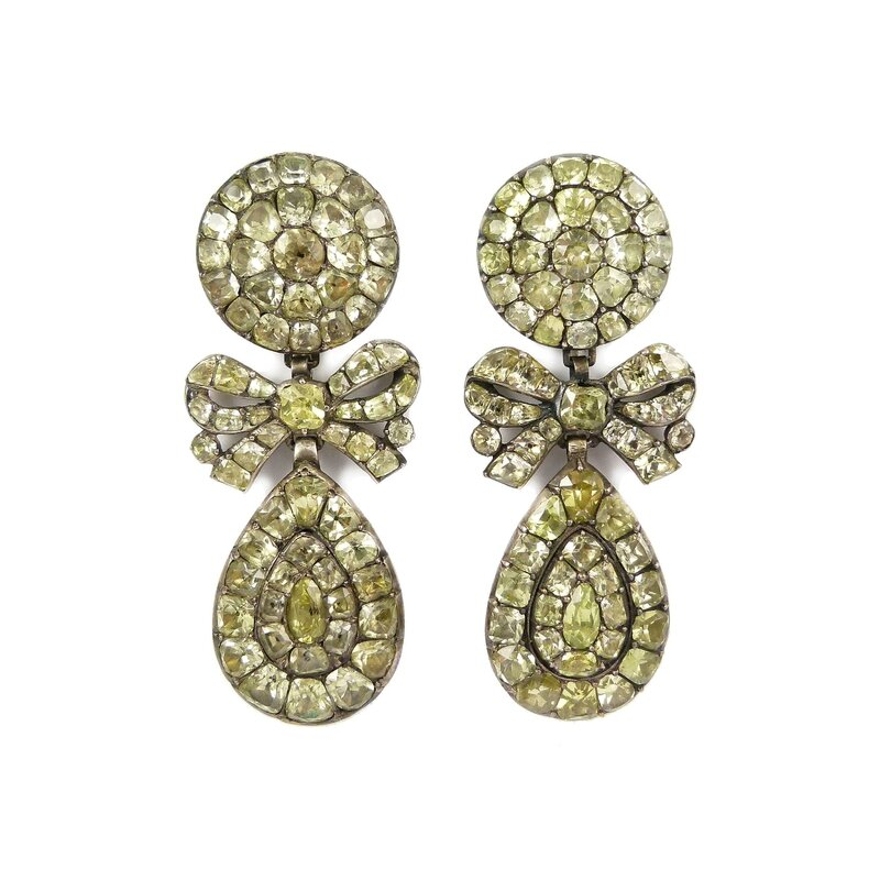 626ab9b7ad ... of 18th century chrysolite drop cluster pendant earrings, Portuguese,  c.1770. Asking price in the region of £20,000-£50,000. Courtesy S. J.  Phillips Ltd