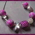 Collier fimo fushia spirales différentes perles argentées (N)