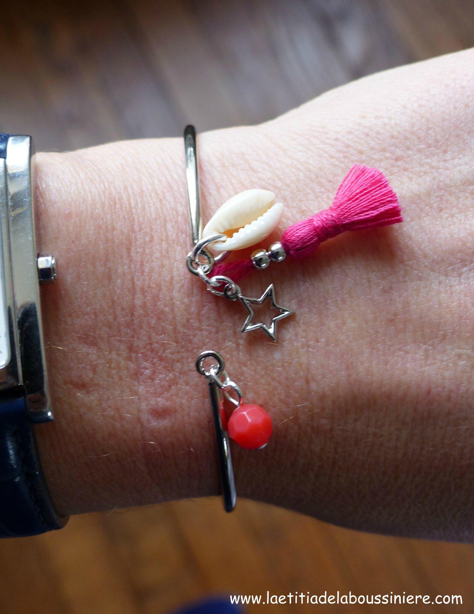 Bracelet Agatha (fushia et argenté) - 15 €