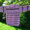 Pull violet de charline + café-tricot