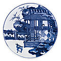 A blue and white shallow bowl, qing dynasty, kangxi period (1662-1722)