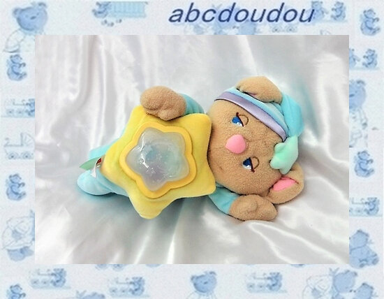 Doudou Peluche Ours Musical Veilleuse Multicolore 2001 Fisher Price 30 cm