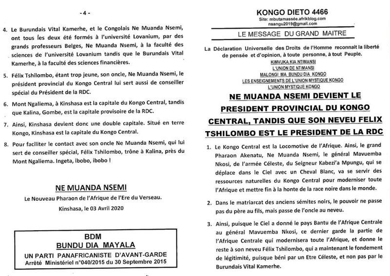 MUANDA NSEMI DEVIENT LE PRESIDENT PROVINCIAL DU KONGO CENTRAL a