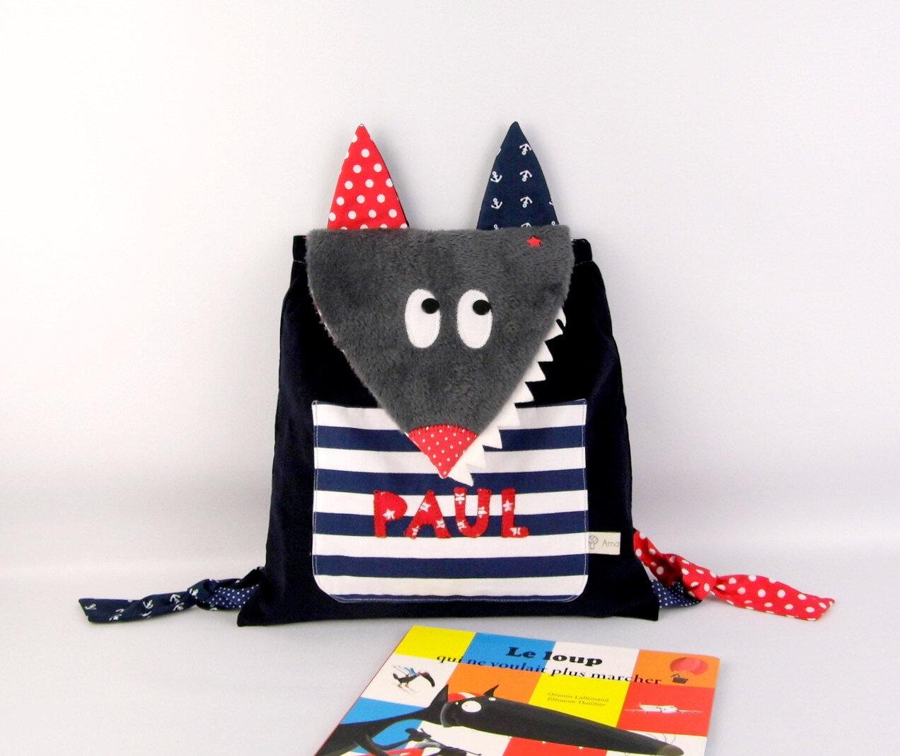 Sac à dos enfant style marin personnalisé prénom Paul sac loup garçon rouge bleu marine rentrée des classes école maternelle