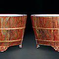 A pair of faux bois jardinieres, mid qing dynasty, 18th century